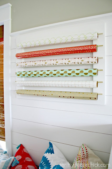 wrapping paper storage for wall