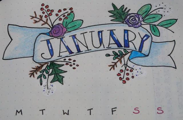 my bullet journal header for Jan 2018 - Carrie Gault 2018