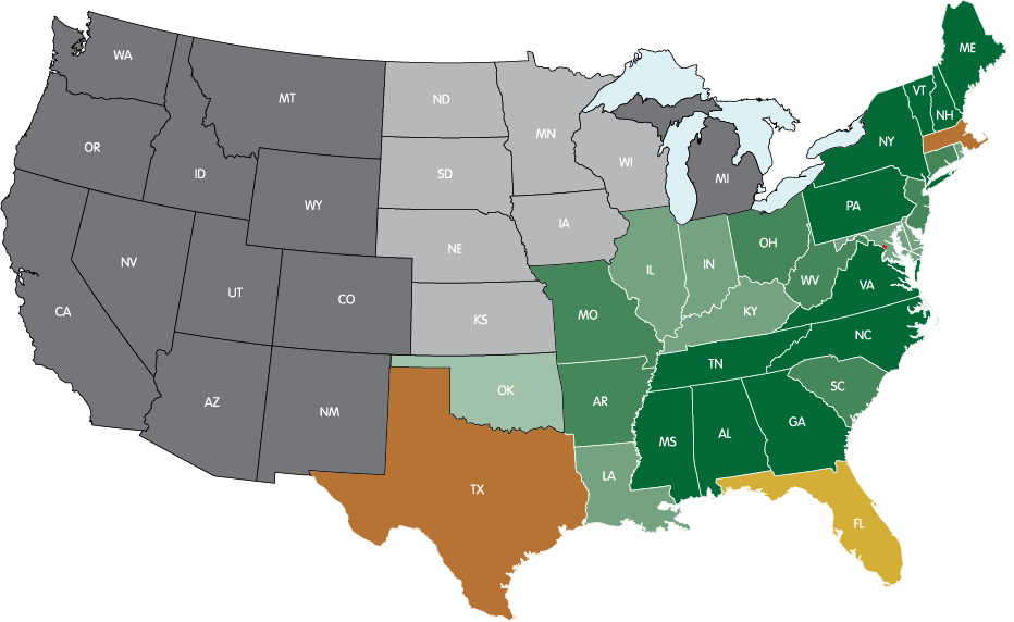 STATES WHERE THE P.O.D. HAS LANDED