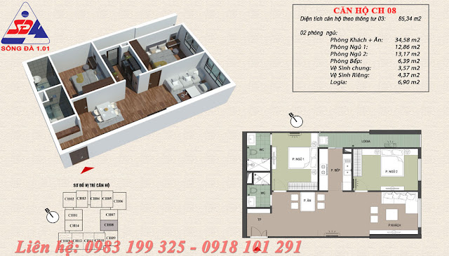 Thiết kế chung cư EcoGreen số 1 Giáp Nhị Căn 08