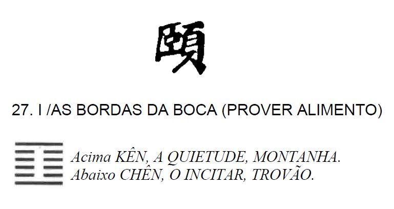 Imagem de 'I / As Bordas da Boca (Prover Alimento)' - hexagrama número 27, de 64 que fazem parte do I Ching, o Livro das Mutações