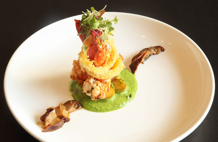 Pan-seared Tiger Prawns, Potatoes, Greens, Mushroom, Spring Pea Truffle Sauce