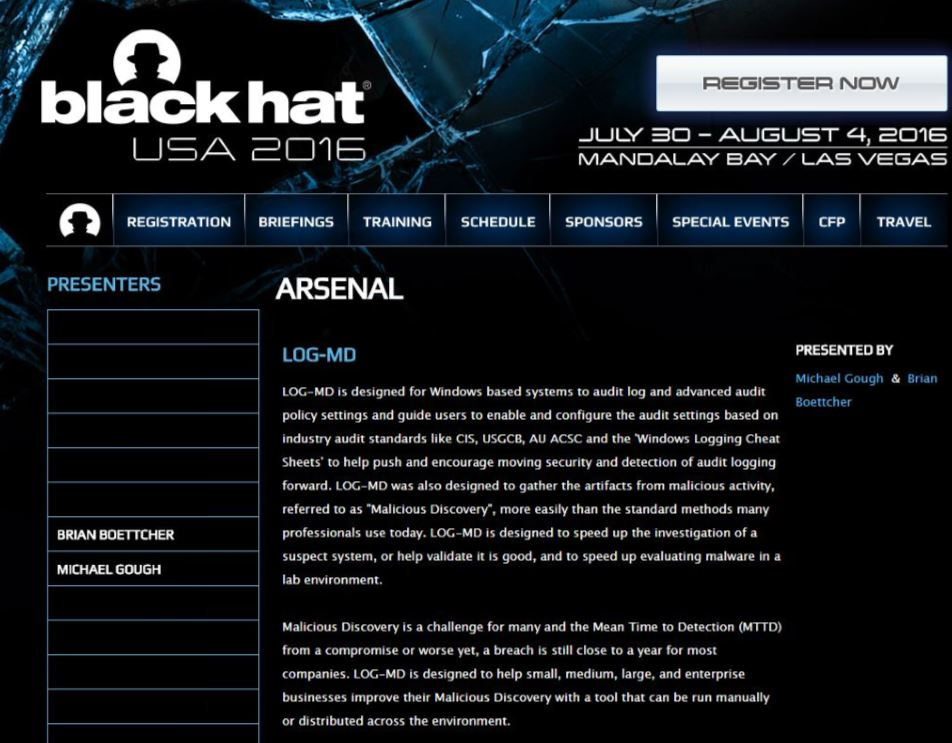https://www.blackhat.com/us-16/arsenal.html#log-md