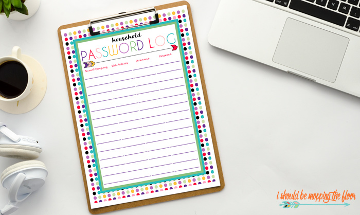 Free Household Password Log Printables