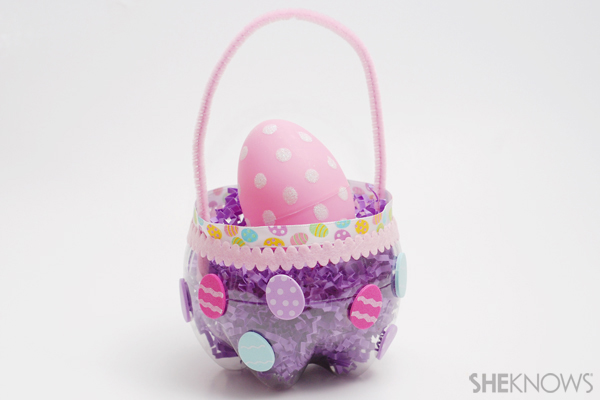 Easter basket made from a soda bottle