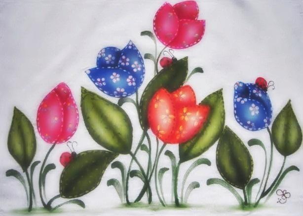 pintura em tecido flores pano de prato