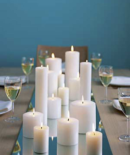 This array of candles is the perfect most simple centerpiece ever.