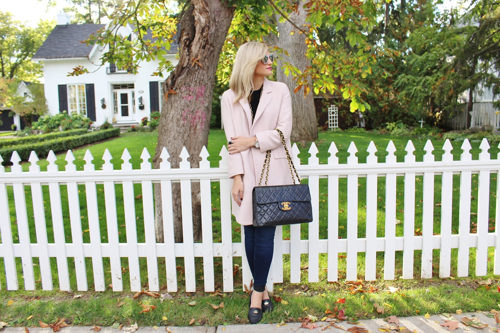 Bijuleni - Duster Blush Zara Coat, Skinny Guess Jeans, turtleneck sweater, Coach loafers and Vintage Chanel Handbag ootd