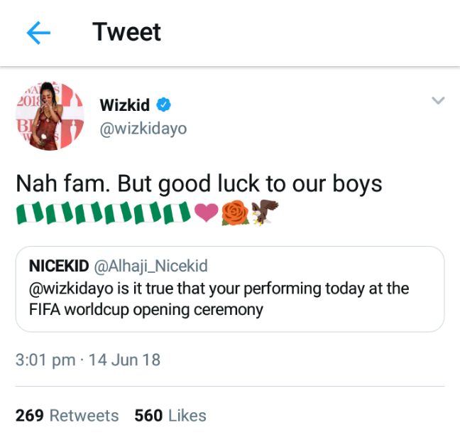 Wizkid Speaks on Being Called To Perform At The Opening Ceremony Of 2018 World Cup