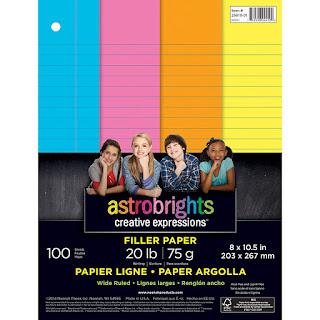 Astrobrights Filler Lined Paper