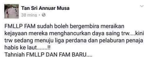 Komen Pedas Annuar Musa Kepada FMLLP & FAM Baru, Susulan Kekalahan Besar Ditangan Melaka United!