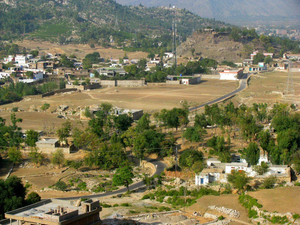 View of Malakand area while descending from Malakand Pass, Pakistan