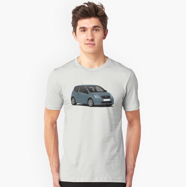 Gray Citroën C2 T-shirt on Redbubble