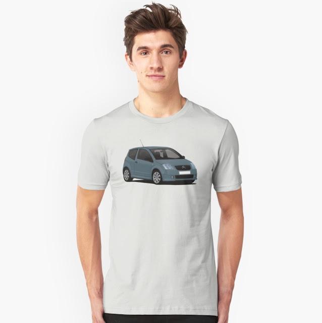 Gray Citroën C2 T-shirt on Redbubble