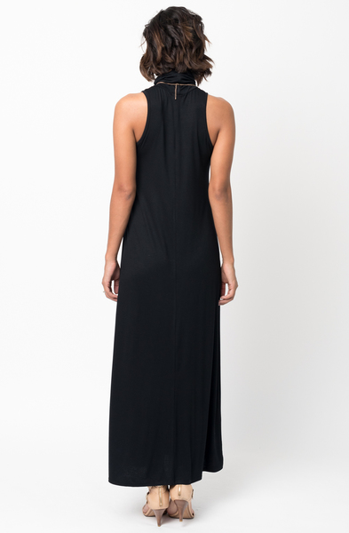 Shop for Black Sleeveless Turtleneck Collar Mock Neck Maxi dress online on caralase.com