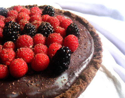 Raspberry and Blackberry Dark Chocolate Truffle Tart with a Teff Crust