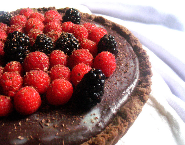 Dark Chocolate Truffle Tart with Mixed Berries