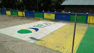 Lapangan Voly Desa Lawang Agung dengan Logo BPJS Ketenaga Kerjaan