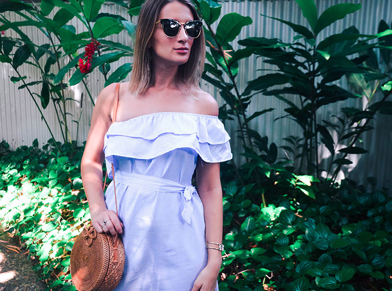 summer outfit with round basket bag cat eye sunglasses ruffle one shoulder pinstripe dress cute outfit idea