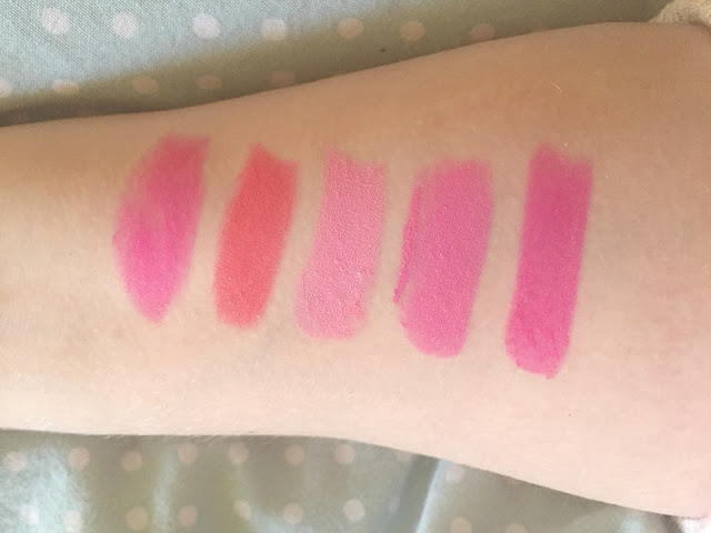 my favourite pink lipstick swatches