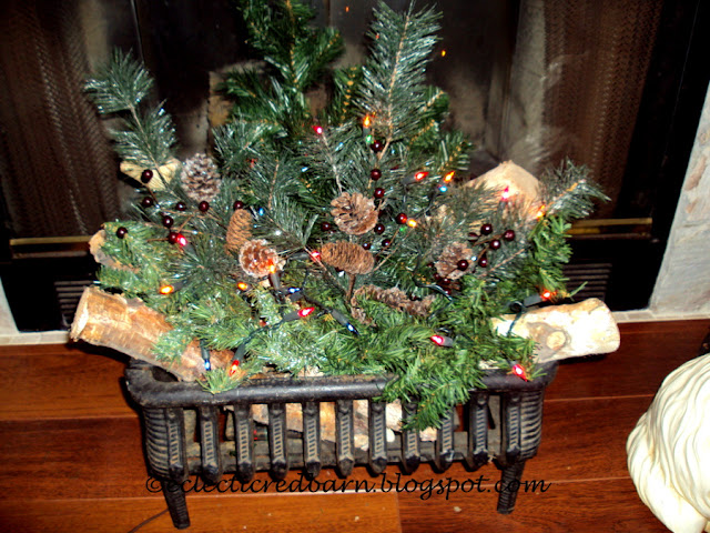 Eclectic Red Barn: Antique Fireplace Grate Decked Out for Christmas