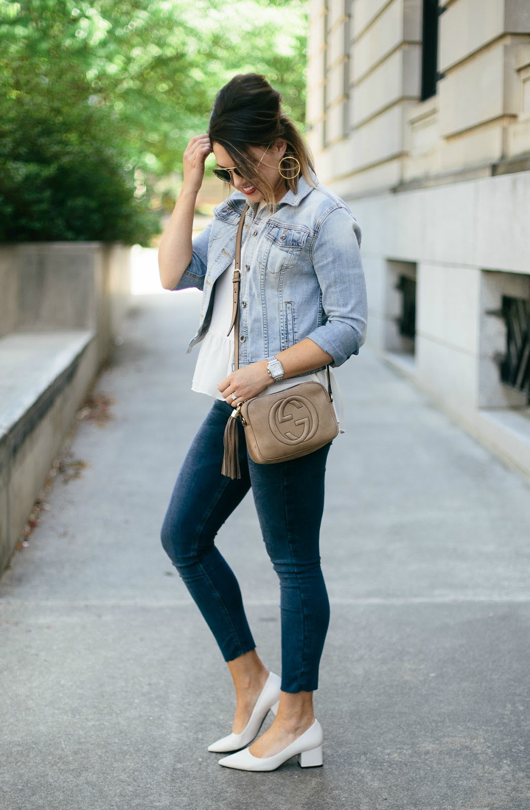 denim on denim outfit, gucci crossbody, peplum top
