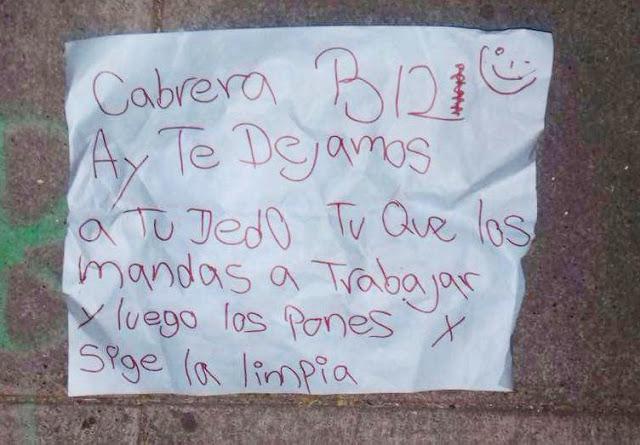 """Cabrera B12 """"carita feliz"""" ay te dejamos a tu dedo tu que los mandas a trabajar y luego los pones sigue la limpia"""" en plena ciudad de Guadalajara"""