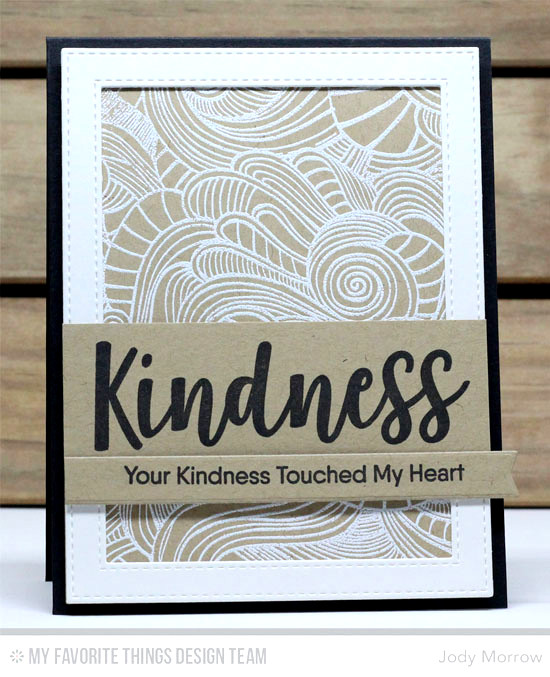 Handmade card from Jody Morrow featuring Kind Words stamp set, Wavy Coloring Book Background, Stitched Rectangle Frames. Blueprints 13, and Blueprints 30 Die-namics #mftstamps