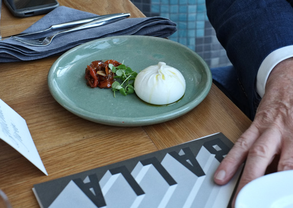 Burrata With Cherry Tomato by Eugenio Maiale of A Tavola and Besser. Photographed by Kent Johnson.
