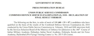 UPSC CDS (I) 2018 Final Result declared: Check it Now