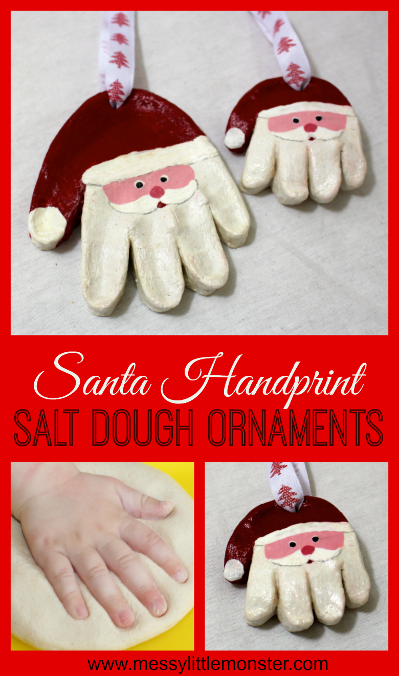 Santa salt dough handprint ornaments. Use our easy salt dough recipe to make salt dough ornaments. Santa handprint ormaments make the best Christmas santa crafts for kids! A salt dough craft for babies, toddlers and  preschoolers and adorable first christmas ornaments.