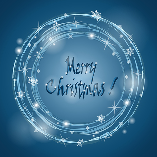 Lights in a circle surrounded by snowflakes.  Text: Merry Christmas