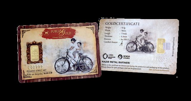 Gold Bar 0.5 g Edisi Kids On Bicycle (Penang Street Art)