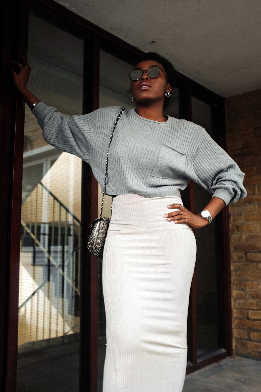 Missguided Grey Ribbed Batwing Crop Jumper, Missguided Grey ribbed Maxi Skirt, ASOS Flat Lens Metal Frame Square Sunglasses In Black, Topshop Sequin Bag, Urban Outfitters Block Heels