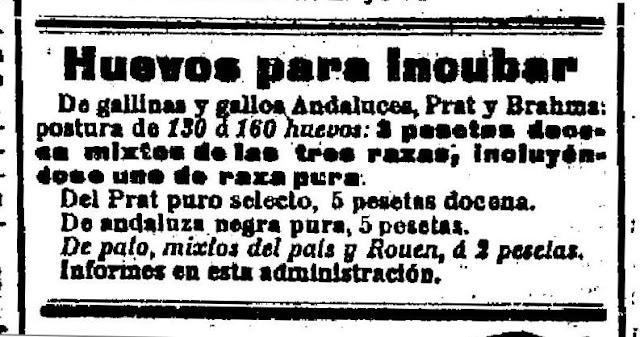 Un anuncio de los productos de su granja publicado en El Cantábrico