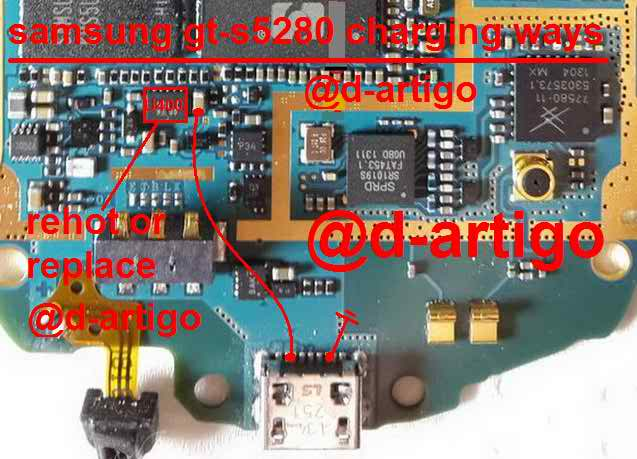Hi Friends today i will share with you samsung gt-s5280 charging solution. Sometime you get Samsung Gt-s5282 Smart phone water damage after servicing device is ok but charging is not working at this time you should check this line use your Avo miter/ multi miter. if you get any short on this mother broad just re shouldering this line use copier coil. please follow this image instruction you can solve your problem 100%. Don't forget say thanks and share with your friends. thanks you.