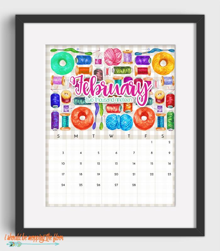 February Sewing Calendar