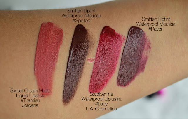 Lipstick swatches Sweet Cream Matte LIquid Lipstick by Jordana in Tiramisù and Spellbo, Raven and Lady by L.A. Cosmetics