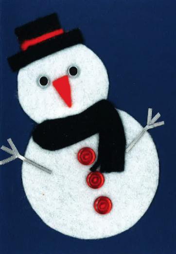 Handmade Christmas card snow