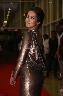 Actress Catherine Tresa in Golden Skin Tight Backless Gown at Gautam Nanda music launchi ~ Exclusive Celebrities Galleries 039.JPG