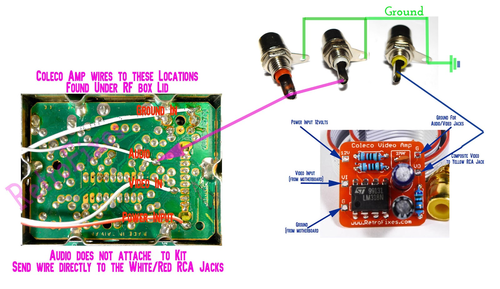 the illustration below is a quick overview of the pin outs and soldering points view the image at max size and double check you installation  [ 1600 x 925 Pixel ]