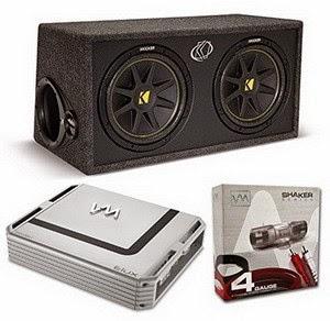 "Kicker DC122 Dual 12"" 600 Watt Car Subwoofers + Enclosure + 1600W Amp + Amp Kit"