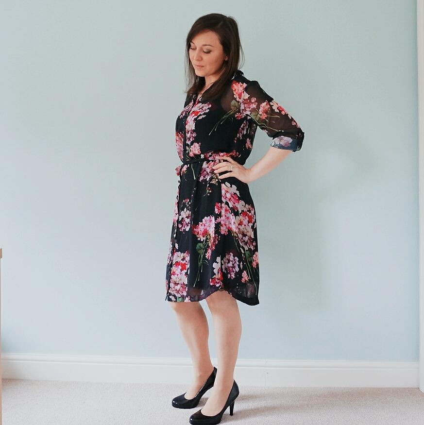 Floral chiffon Alex shirt dress from Sew Over It My Capsule Wardrobe: City Break ebook