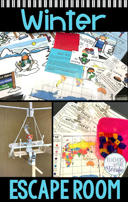 Kids are loving Escape Rooms. Here's one all about winter sports and it includes a STEM Challenge! #escaperoom #wintersports #elementary