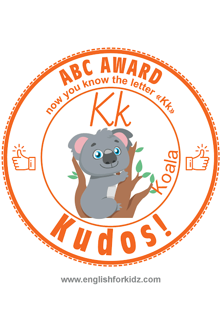 Printable award for ABC learning -- letter k is for koala