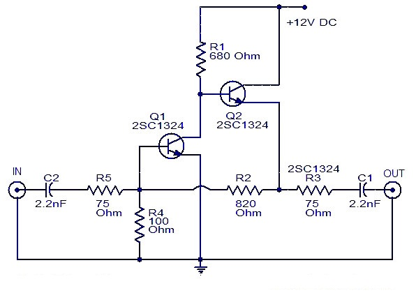 Cable TV amplifier With 2 Transistors |amplifier circuit schematic