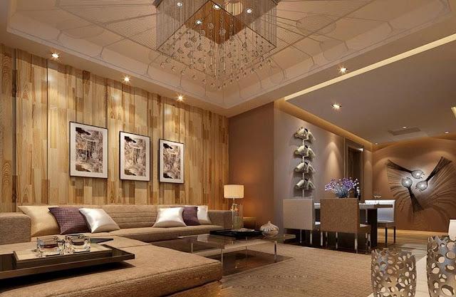 Trang trí mảng tường cho phòng khách bằng gỗ