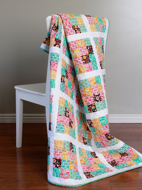 Fun quilt made using Vintage Kitchen fabrics from Riley Blake