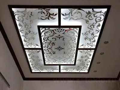 stained glass panels with printed decorations and ceiling led lights