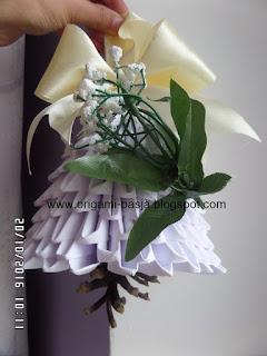 dzwonek, święta, biały, boże narodzenie, origami 3d, modułowe, kokarda, prezent, do okna, na choinkę